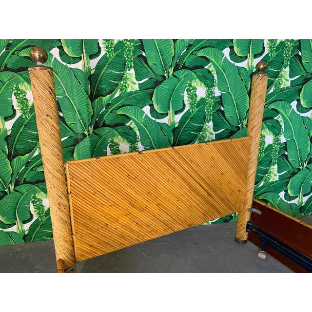 Boho Chic Split Pencil Reed Rattan Queen Size Poster Bed For Sale - Image 3 of 8