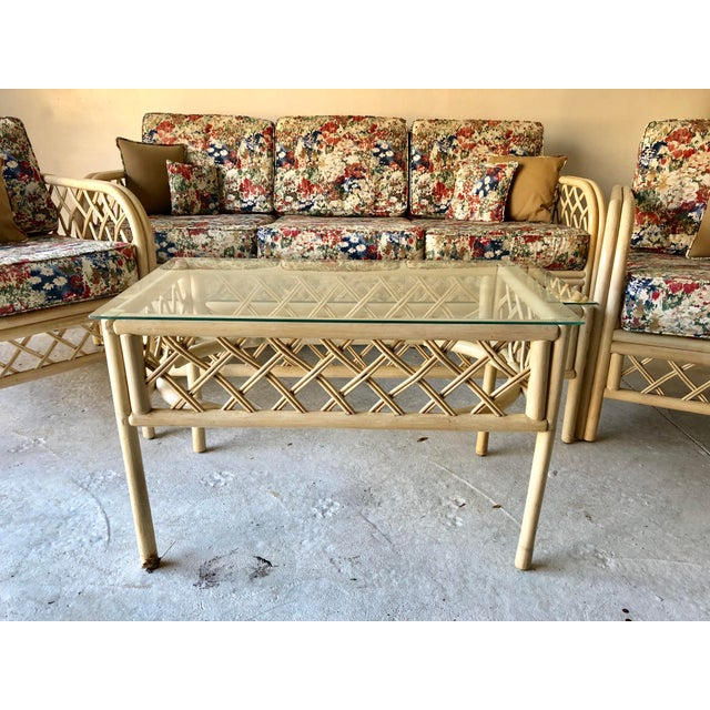 Hollywood Regency Style Set of Five Rattan , Bamboo washed wood Patio Set with costume made cushions, no makers mark with...
