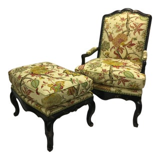 Late 20th Century Hand-Painted French Fauteuil Chair & Ottoman For Sale
