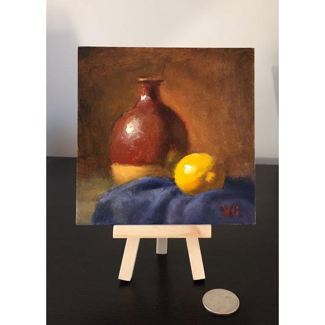 Alla-Prima Oil Still Life with Vase and Lemon - Image 2 of 2