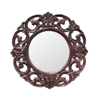 Round Carved Teak Mirror Frame