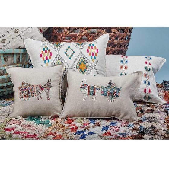 Boho Chic Donkey Cart Pocket Pillow For Sale - Image 3 of 4