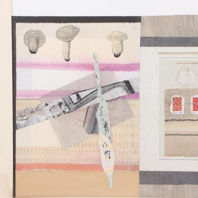 1980s Vintage Abstract Mixed Media Collage For Sale - Image 5 of 7