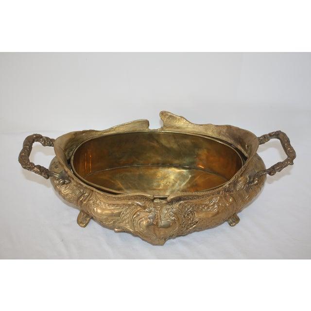 Vintage Art Nouveau Brass Jardiniere - Image 3 of 6