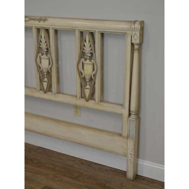French Regency Directoire Style Vintage Custom Painted King Headboard For Sale - Image 11 of 13