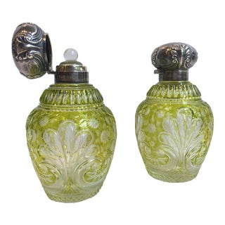 English 19th Century John Grinsell & Sons Chartreuse Cut Crystal Perfume Bottles With Sterling Silver Caps - a Pair For Sale