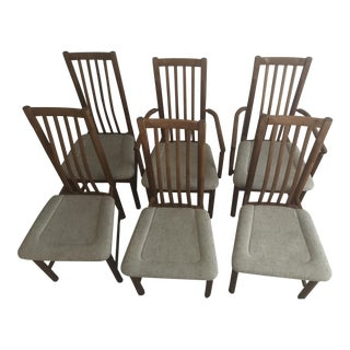 Vintage Mid-Century D Scan Danish Modern Dining Chairs- Set of 6 For Sale