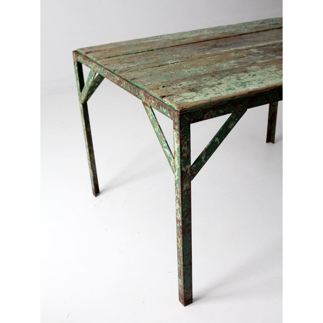 Vintage Wood Top Work Table For Sale - Image 10 of 11
