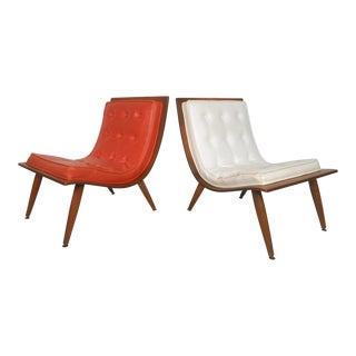 Pair of Vintage Modern Bentwood Scoop Chairs by Carter Brothers For Sale