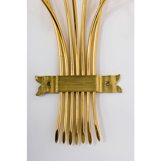 1970s Brass Sconces Wall Lights in the Manner of Tommi Parzinger For Sale - Image 5 of 10