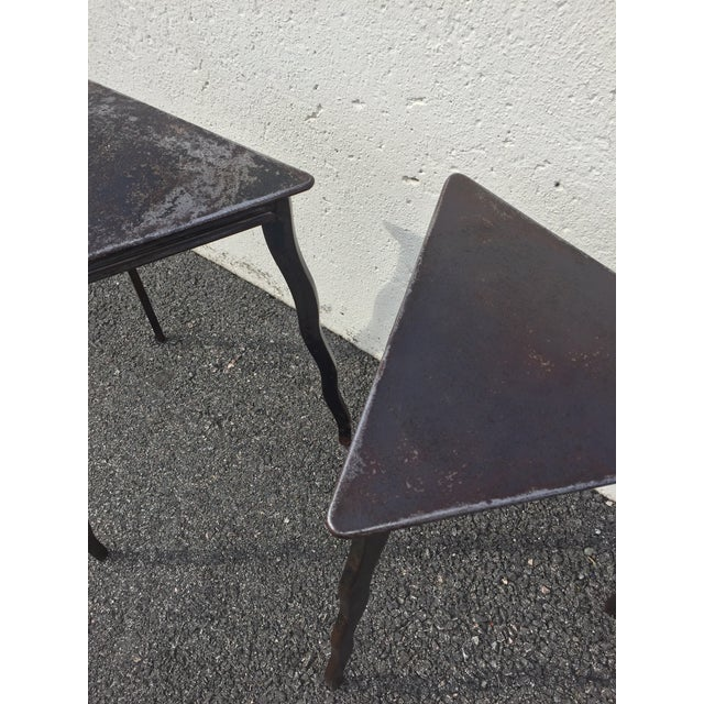 Postmodern Will Stone Handmade Steel Side Tables - a Pair For Sale In Philadelphia - Image 6 of 10