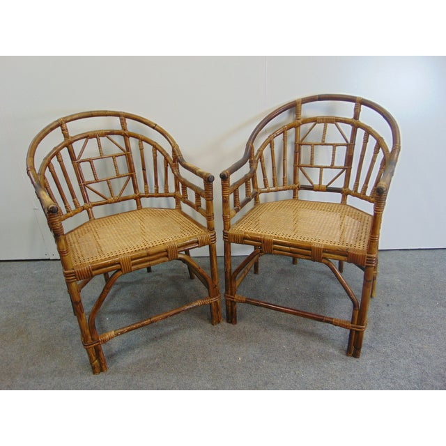 Chinoiserie Mid Century Chinoiserie Bamboo Chairs - a Pair For Sale - Image 3 of 7
