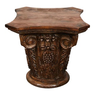 Neoclassical Hand Carved Wood Capital For Sale