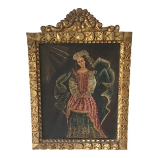 Antique Peruvian Acrylic on Canvas Gilt - Frame Painting For Sale