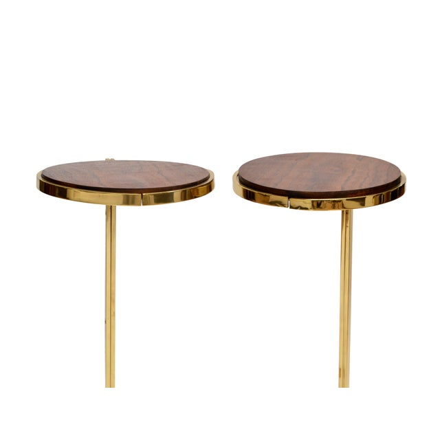 Personal Brass with Wooden Top Side Table - Image 7 of 9