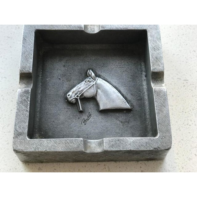 1950s Mid-Century Modern Equestrian Theme Ashtray in Pewter For Sale - Image 5 of 10