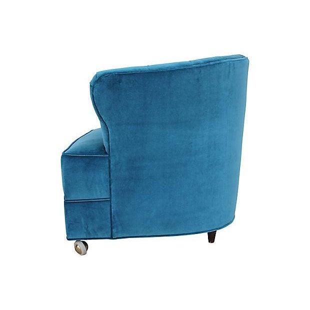 Art Deco Tufted Velvet Bucket Chair For Sale - Image 3 of 9