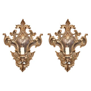Italian Silver Leaf Finish Carved and Iron Wall Sconces - a Pair