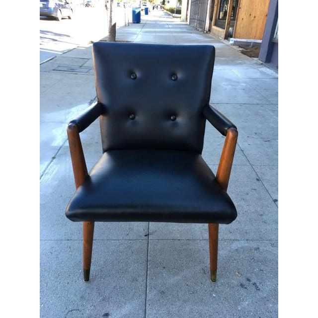 Danish Modern Mid-Century Black Vinyl & Walnut Arm Chair For Sale - Image 3 of 9