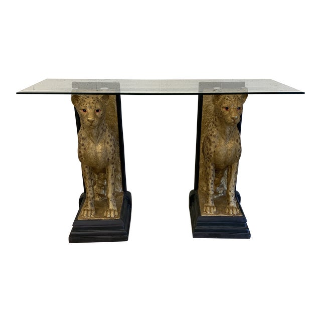 Cheetah Console Table With Glass Top For Sale