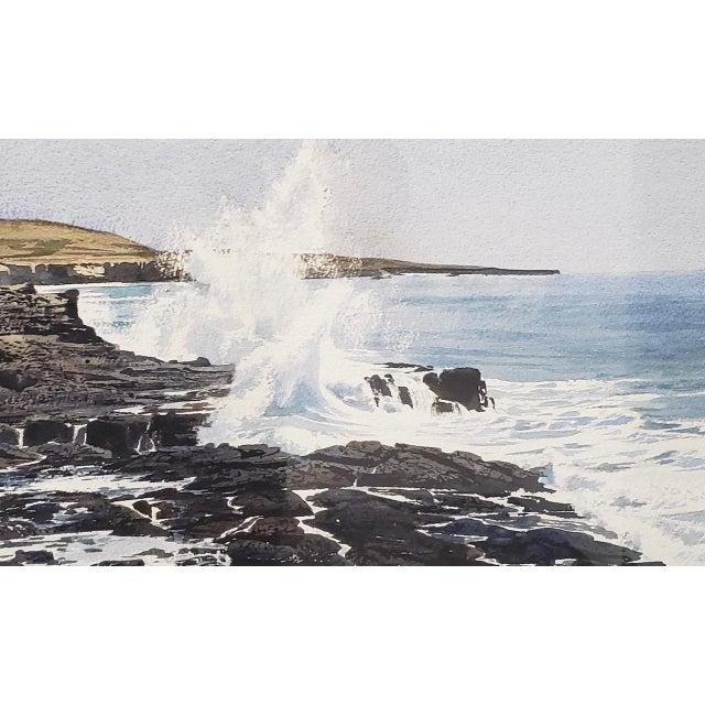 Late 20th Century Merv Corning (1926-2006) Rocky Coastal Landscape Watercolor For Sale - Image 5 of 9