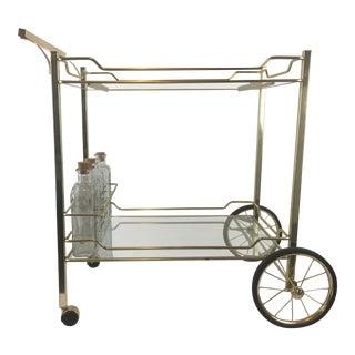 1970s Hollywood Regency Brass Bar Cart For Sale
