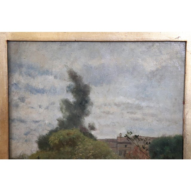 Illustration 19th Century Important Italian Artist Oil Painting on Canvas Landscape For Sale - Image 3 of 8