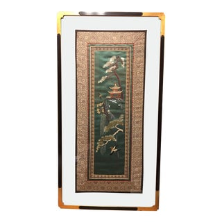19th Century Japanese Silk Tapestry Enclosed in an Antique Glass Matte Frame For Sale