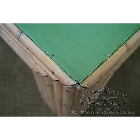 Vintage Art Deco Rattan Bamboo Coffee Table For Sale - Image 11 of 13