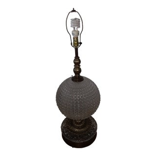1950s Vintage Crystal Globe Brass Table Lamp For Sale