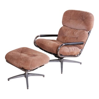 Milo Baughman for Directional Chrome and Suede Swivel Lounge Chair and Ottoman For Sale