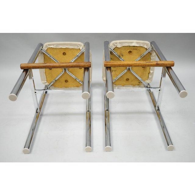 Pair Mid Century Modern Chrome & Oak Wood Barstools Bar Stools Vtg Baughman Era - Image 9 of 11
