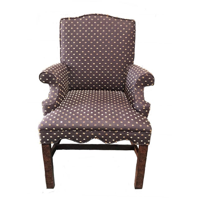 Textile Brown With Cream Mohair Polka Dots Upholstered Arm Chair For Sale - Image 7 of 7