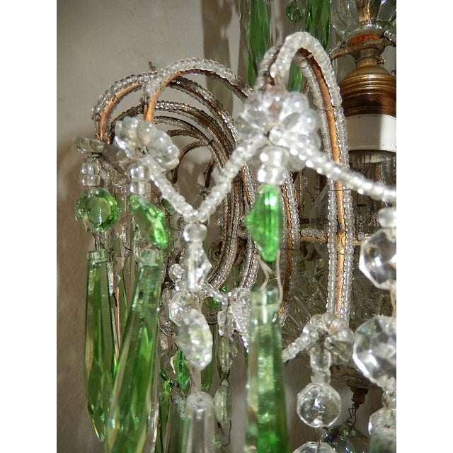 Italian Micro-Beaded Green Crystal Prisms Chandelier For Sale - Image 4 of 10