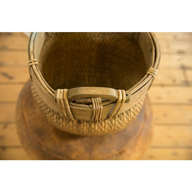 Country Natural Vintage Willow Basket For Sale - Image 3 of 10