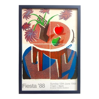 "David Hockney Rare 1988 "" Fiesta "" Lithograph Print Framed Pop Art Poster "" Flowers, Apple & Pear on Table "" 1986 For Sale"