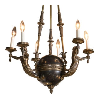 19th Century Swedish Tole and Bronze Chandelier For Sale
