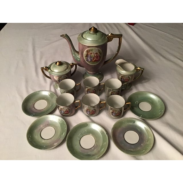 Paint Vintage Hand Painted Angelica Kauffmann Style Tea Service - Set of 14 For Sale - Image 7 of 11