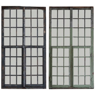 1850s French Painted Wood and Glass Windows - a Pair For Sale