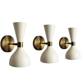 "Blueprint Lighting Italian Modern Bronze and Enamel ""Ludo"" Wall Sconces or Lamp For Sale"