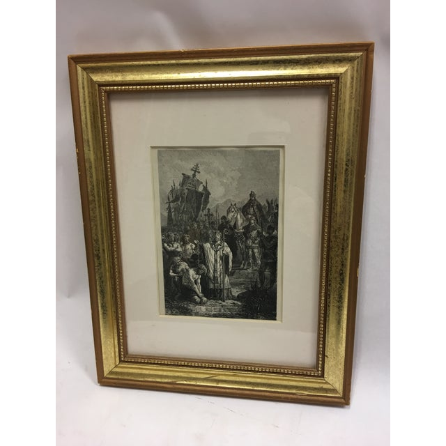 A beautiful black and white Biblical scene book etching. Wonderful fine details. Simply matted and framed.