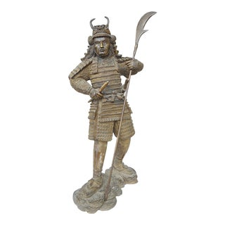 Vintage Bronze Japanese Samurai Warrior Statue-Finely Detailed For Sale