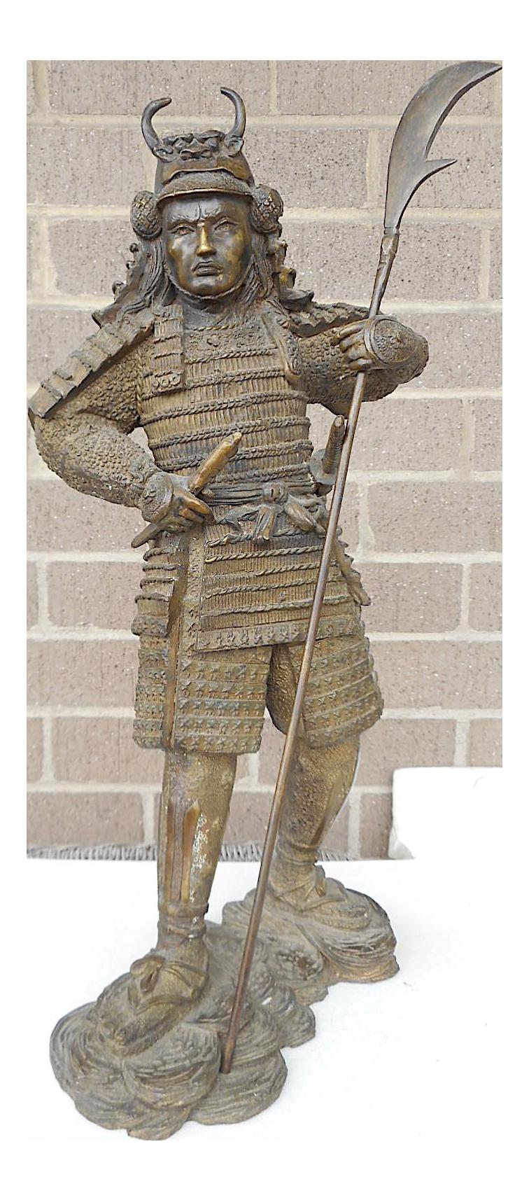 Vintage Bronze Japanese Samurai Warrior Statue Finely Detailed Chairish