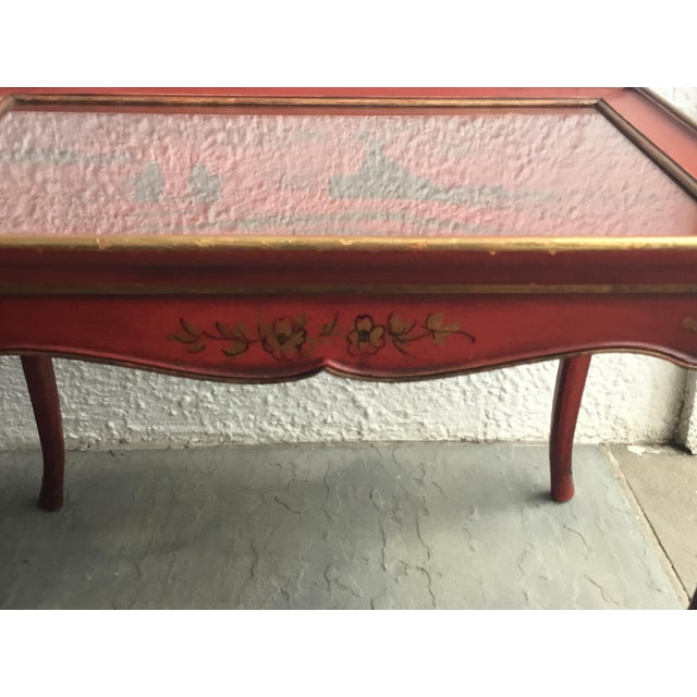 1950s Chinoiserie Red Hand Painted Coffee Table For Sale - Image 10 of 13