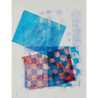 Barbara Lewis Mixed Media Abstract Collage in Blue, 1969 For Sale