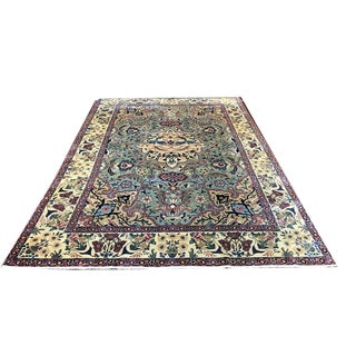 Antique Green Ground Tabreez Rug For Sale