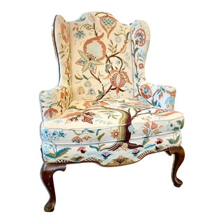 """Tree of Life"" Crewel Wingback Chair For Sale"
