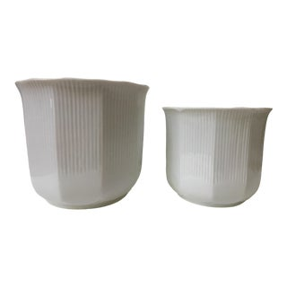 White Porcelain Ribbed Cachepots - Made in Japan- a Pair For Sale