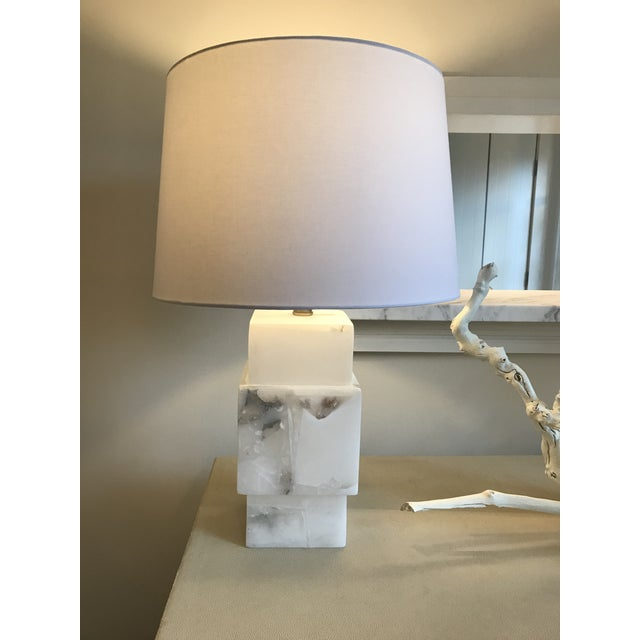 Beautiful alabaster lamp with shade - 2 available