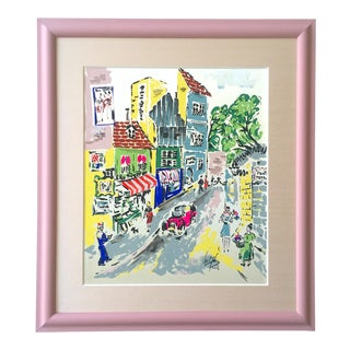 "Vintage Mid Century "" Paris Street Scene "" Custom Framed Original Expressionist Gouache Painting on Silk For Sale"